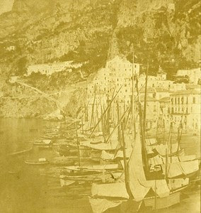 Amalfi Naples Italy Old Stereo Photo Leon Pierre Jouvin 1858