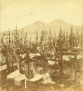 Boats Harbour of Naples Italy Old Stereo Photo Leon Pierre Jouvin 1858