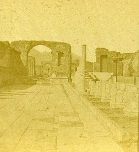 Forum Pompeii Naples Italy Old Stereo Photo Leon Pierre Jouvin 1858