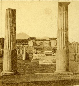 Temple of Venus Pompeii Naples Italy Old Stereo Photo Leon Pierre Jouvin 1858