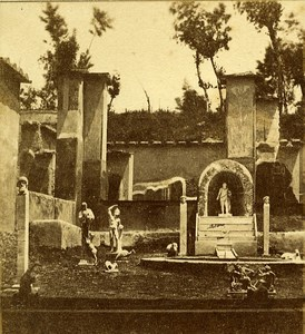 Musician House Pompeii Naples Italy Old Stereo Photo Leon Pierre Jouvin 1858