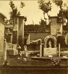 Musician House Pompeii Naples Italy Old Stereo Photo Leon Pierre Jouvin 1858