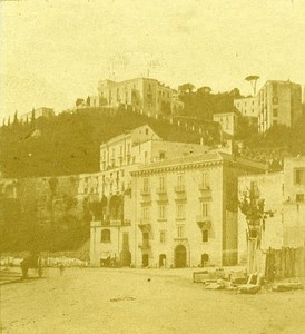 Mergellina Naples Italy Old Stereo Photo Leon Pierre Jouvin 1858
