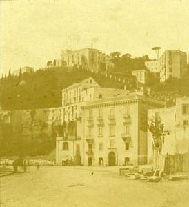 Mergellina Naples Italy Old Stereo Photo Leon Pierre Jouvin 1858