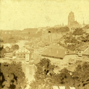 Bern side of the Aare Switzeland Old Stereo photo ca 1859
