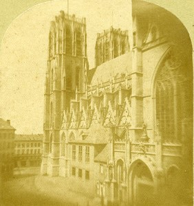 Church of Saint Gudula Brussels Belgium Old Stereo Photo ca 1859