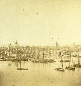 Harbour Panorama Venice Italy Old Stereo Photo 1859