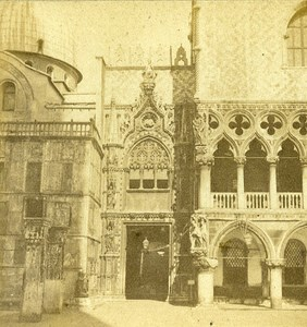 Portal of Ducal Palace Venice Italy Old Stereo Photo 1859