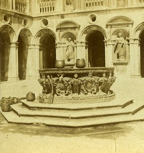 Court of the Giants Staircase Venice Italy Old Stereo Photo 1859