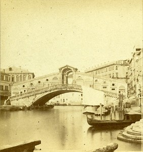 Rialto Bridge Venice Italy Old Stereo Photo 1859