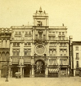 Clock Tower Venice Italy Old Stereo Photo 1859