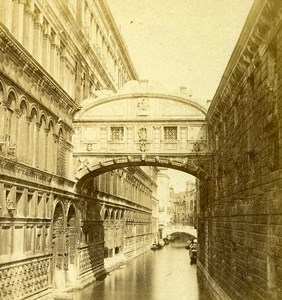 Ponte dei sospiri Venice Italy Old Stereo Photo 1859