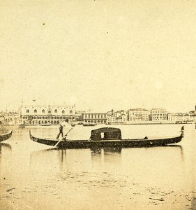 Gondolo at Venice Italy Old Stereo Photo 1859