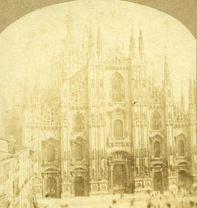 Il Duomo Cathedrale Milano Italy Old Stereo Photo 1859