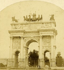 Arco della Pace Milano Italy Old Stereo Photo 1859