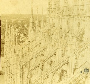 Il Duomo Cathedral Milano Italy Old Stereo Photo 1859