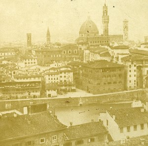 View from Belvedere Firenze Florence Italy Old Stereo Photo ca 1855