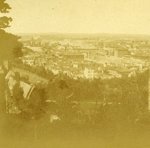 San Miniato View Firenze Florence Italy Old Stereo Photo ca 1855