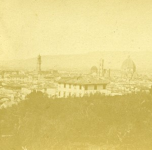 San Miniato View Firenze Florence Italy Old Stereo Photo 1855