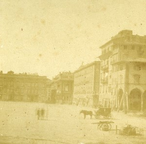 Piazza d Armi Livorno Italy Old Stereo Photo ca 1855