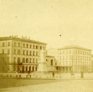 Piazza del Voltone Livorno Italy Old Stereo Photo ca 1855