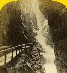 Ragaz Tamina Canyon Switzerland Old Stereo Photo Braun 1860
