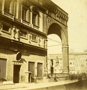 Ducal palace Firenze Florence Italy Old Stereo Photo Bernoud 1857