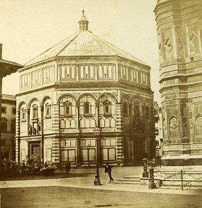Baptistere Firenze Florence Italy Old Stereo Photo Bernoud 1857
