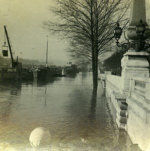Quai de la Conference Flood Paris France Old Photo Stereo 1910