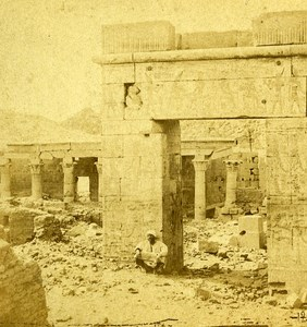 Portico of Priests Philae Isle Egypt Old Stereo Photo Francis Frith 1858