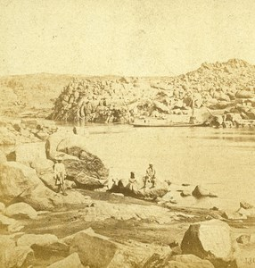 First Cataract View Egypt Old Stereo Photo Francis Frith 1858