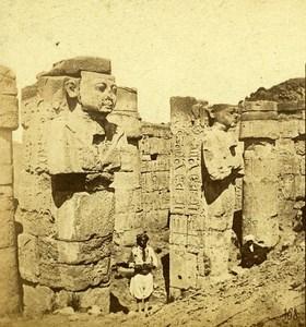 Osiris pillars of Karnak Thebes Egypt Old Stereo Photo Francis Frith 1858