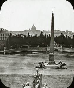 Panorama Roma Italy Old Glass Stereoview Ferrier 1855