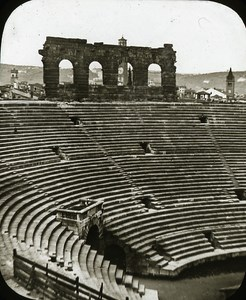 Arena Interior Verona Italy Old Glass Stereoview Ferrier 1855