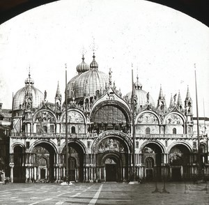 Piazza San Marco Venezia Italy Old Glass Stereoview Ferrier 1855