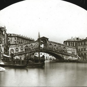 Rialto Bridge Venice Italy Old Glass Stereoview Ferrier 1855