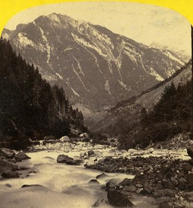 Lauterbrunnen Valley Switzerland Old Stereoview Photo Braun 1865