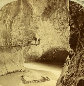 Gorges du Trient Martigny Switzerland Old Stereoview Photo England 1865