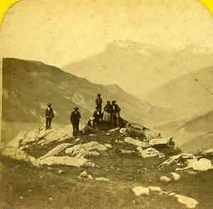 The Mont Joli Switzerland Old Stereoview Photo 1865