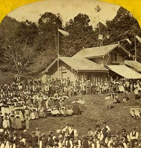 Unspunnenfest Schwingen Wrestlers Switzerland Stereo Photo 1865