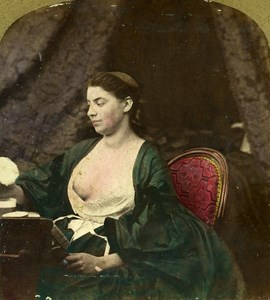 Study of Woman Semi Nude Risque Old Stereo Photo Hand Tinted Lamy 1861