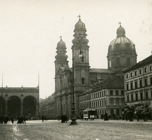 Munchen Theatinerkirche Germany Old Stereo Photo 1900