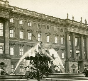 Berlin Fountain Behind Castle Germany Old Stereo Photo 1900