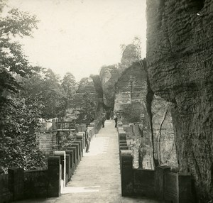 Bastei Saxon Switzerland National Park Germany Old Stereo Photo 1900
