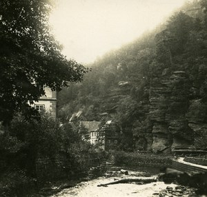 Hrensko Czek Republic Elbe River Old Stereoview Photo 1900