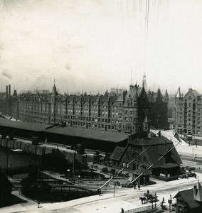 Germany Hamburg Railway Station Freihafen Old Stereoview NPG 1900