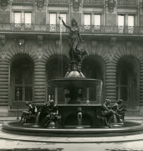 Germany Hamburg City Hall Fountain Old Stereoview NPG 1900