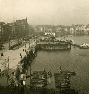 Germany Hamburg Jungfernstieg Old Stereoview NPG ca 1900