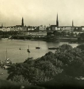 Germany Hamburg Lombardsbrucke Old Stereoview NPG 1900
