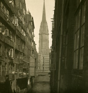 Germany Hamburg Nicolai Church Old Stereoview NPG 1900